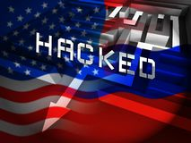 Russia Hacking American Elections Data 3d Illustration. Shows Kremlin Spy Hackers On Internet Attack Usa Election Security Or Cybersecurity stock illustration