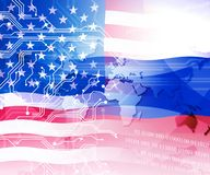 Russia Hacking American Elections Data 2d Illustration. Shows Kremlin Spy Hackers On Internet Attack Usa Election Security Or Cybersecurity royalty free illustration