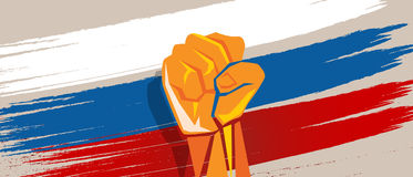 Russia hand fist revolution flag national patriotic fight Royalty Free Stock Photo