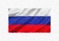 Russia hand painted waving national flag, oil paint isolated on. White canvas, 3D illustration Stock Photography