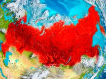 Russia in red on Earth Stock Photography