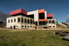 Reconstruction of the old historical building to modern. royalty free stock photos
