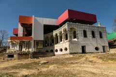 Reconstruction of the old historical building to modern. stock photography