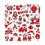 Russia, icons collection. Sketch for your design Royalty Free Stock Photo