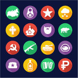Russia Icons Flat Design Circle Royalty Free Stock Photos