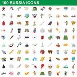 100 russia icons set, cartoon style. 100 russia icons set in cartoon style for any design illustration stock illustration