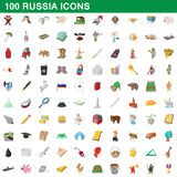 100 russia icons set, cartoon style. 100 russia icons set in cartoon style for any design vector illustration Royalty Free Stock Photos