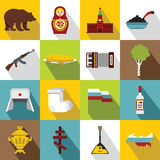 Russia icons set, flat style Royalty Free Stock Image