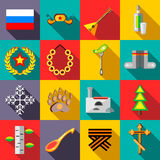 Russia icons set, flat style Royalty Free Stock Photo