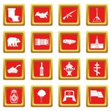 Russia icons set red Stock Photo