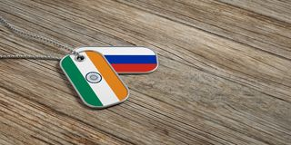 Russia and India military relations, Identification tags on wooden background. 3d illustration. Russia and India military relations, Identification dog tags on Royalty Free Stock Photography