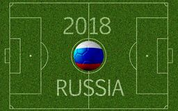 Russia 2018 international soccer tournament. 3D rendering of soccer pitch seen from above with superimposed soccer ball with imprinted Russian flag colors and Stock Images