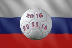 Russia 2018 international soccer tournament. 3D rendering of white soccer ball with imprinted 2018 Russia text placed against Russian flag Stock Photography