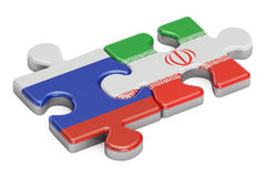 Russia and Iran puzzles from flags, 3D rendering. On white background Royalty Free Stock Photo