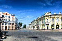 Russia, Irkutsk - July 6, 2019: View of Karl Marx street in Irkutsk at weekend, the most important and most prosperous. Russia, Irkutsk - July 6, 2019: View of royalty free stock image