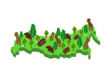 Russia Isometric Map Animal and plants. flora and fauna on mainland. Vector royalty free illustration