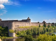 Russia.Ivangorod fortress .Cityscape in a sunny day Royalty Free Stock Photo