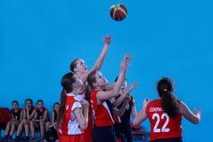 Russia, Izhevsk - April 26, 2017:Game of female high school basketball team. stock photos