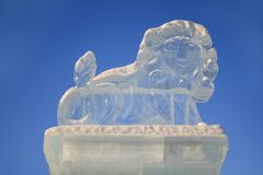 Russia, Izhevsk - January 28, 2017:Ice sculpture of a lion is standing in the central square. Royalty Free Stock Photos