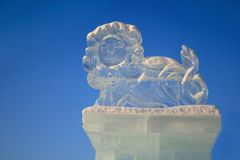 Russia, Izhevsk - January 28, 2017:Ice sculpture of a lion is standing in the central square. Stock Photography