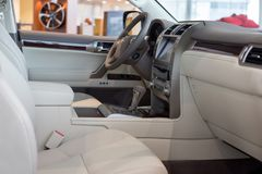 Russia, Izhevsk - October 20, 2018: Showroom Lexus. Interior of new vehicle Lexus LX570. Famous world brand. Modern transportation royalty free stock photos