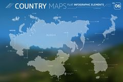 Russia, Japan, China and South Korea Vector Maps. Flat vector maps collection with infographic elements vector illustration