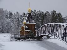 Russia. The journey to Russia. Karelia. Winter. The beauty of nature. The surroundings of the fortress `korella`. A lonely Church on the water Stock Photography