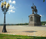 Russia - July 25, 2016: Monument of Prince Vladimir against Assumption Cathedral Stock Image