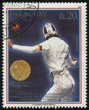 Ania Fichtel, gold medalist at Seoul. RUSSIA KALININGRAD, 19 APRIL 2017: stamp printed by Paraguay, shows Ania Fichtel, gold medalist at Seoul, circa 1989 Stock Photography
