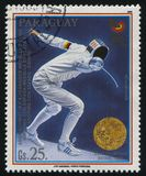 Arno Schmitt gold medalist at Seoul. RUSSIA KALININGRAD, 19 APRIL 2017: stamp printed by Paraguay, shows Arno Schmitt, gold medalist at Seoul, circa 1989 Stock Photography