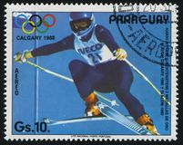 Erika Hess at Winter Olympics in Calgary. RUSSIA KALININGRAD, 19 APRIL 2017: stamp printed by Paraguay, shows Erika Hess at Winter Olympics in Calgary, circa Stock Photo