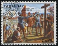 Founding of Asuncion. RUSSIA KALININGRAD, 19 APRIL 2017: stamp printed by Paraguay, shows Founding of Asuncion, circa 1987 royalty free stock image