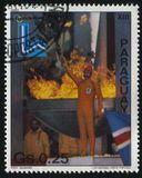 Lightning the Olympic Flame at Winter Olympics at Lake Placid. RUSSIA KALININGRAD, 19 APRIL 2017: stamp printed by Paraguay, shows lightning the Olympic Flame at Stock Photos