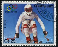 Winter Olympics at Calgary. RUSSIA KALININGRAD, 19 APRIL 2017: stamp printed by Paraguay, shows Markus Wasmeier,  at Winter Olympics at Calgary, circa 1987 Stock Photo