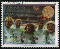 Summer Olympic Games in Seoul. RUSSIA KALININGRAD, 19 APRIL 2017: stamp printed by Paraguay, shows team of medalists at foil at Summer Olympic Games in Seoul Stock Photo