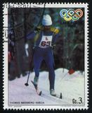Cross country skier at Winter Olympics in Lake Placid. RUSSIA KALININGRAD, 19 APRIL 2017: stamp printed by Paraguay, shows  Thomas Wassberg, Cross country skier Stock Photography