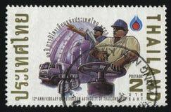 Petroleum development. RUSSIA KALININGRAD, 2 JUNE 2016: stamp printed by Thailand, shows petroleum development, 1990 Royalty Free Stock Photography