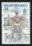 Legend of giant Rolarius. RUSSIA KALININGRAD, 26 OCTOBER 2015: stamp printed by Belgium, shows Legend of giant Rolarius, Roeselare, circa 1991 Stock Image