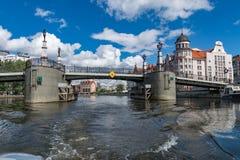 Russia, Kaliningrad, the river Pregol. Kaliningrad, a beautiful view of the old bridge with the river Pregel Stock Photos