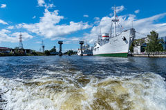 Russia, Kaliningrad, the river Pregol. Kaliningrad, View from the river Pregol on a two-tiered Bridge Stock Photo
