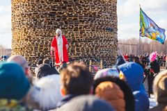 Nikola-Lenivets - March 9, 2019: Pancake week. Burning of the fortress of the Bastille