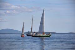 Russia, Kandalaksha - JUNE 30, 2015: Regatta of cruiser yachts. Stock Photos