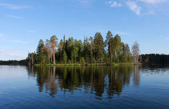 Russia, karelia. Island with forest on lake on blue sky background, horizontal view. Royalty Free Stock Image