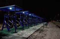 Russia. Karelia. Petrozavodsk. Street Petrozavodsk at night. November 15, 2017. Russia. Karelia. Petrozavodsk. Street Petrozavodsk at night. Sports ground on the Stock Images
