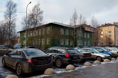 Russia. Petrozavodsk. Street Petrozavodsk in the afternoon. November 15, 2017. Russia. Karelia. Petrozavodsk. Street Petrozavodsk in the afternoon. November 15 Stock Images