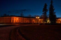 Russia. Petrozavodsk. Street Petrozavodsk at night. November 15, 2017. Russia. Karelia. Petrozavodsk. Street Petrozavodsk at night. The house, lit by the lights Royalty Free Stock Photos