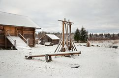 Russia. Wooden house in the village of Kinerma in Karelia. November 16, 2017 Stock Images