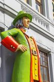 Russia, Kazan, may 1, 2018, statue of a man in a hat at home, editorial royalty free stock image