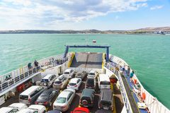 Loaded car deck of the ferry Royalty Free Stock Photography