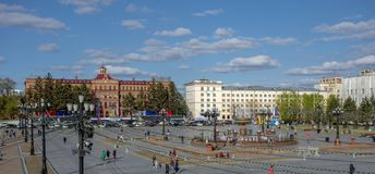 Khabarovsk - may 2019: the Central square of the city. Russia. Khabarovsk - may 2019: the Central square of the city stock images